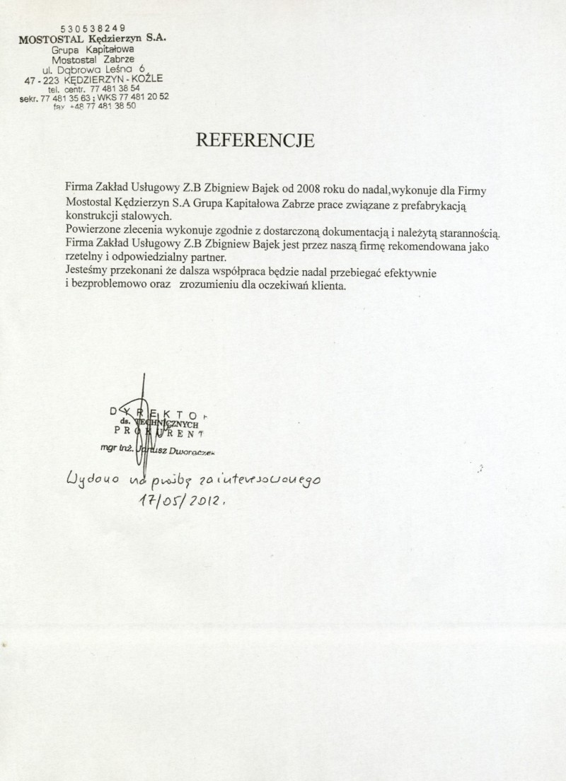 Referencje od Mostostalu