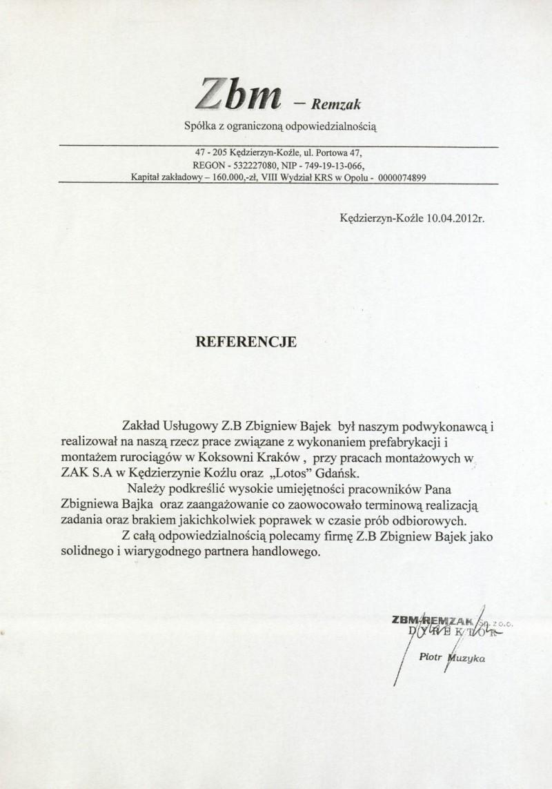 Referencje od ZBM Remzak